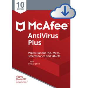 Mcafee Antivirus Plus - 10 devices for 1 year - £10 @ AO.com