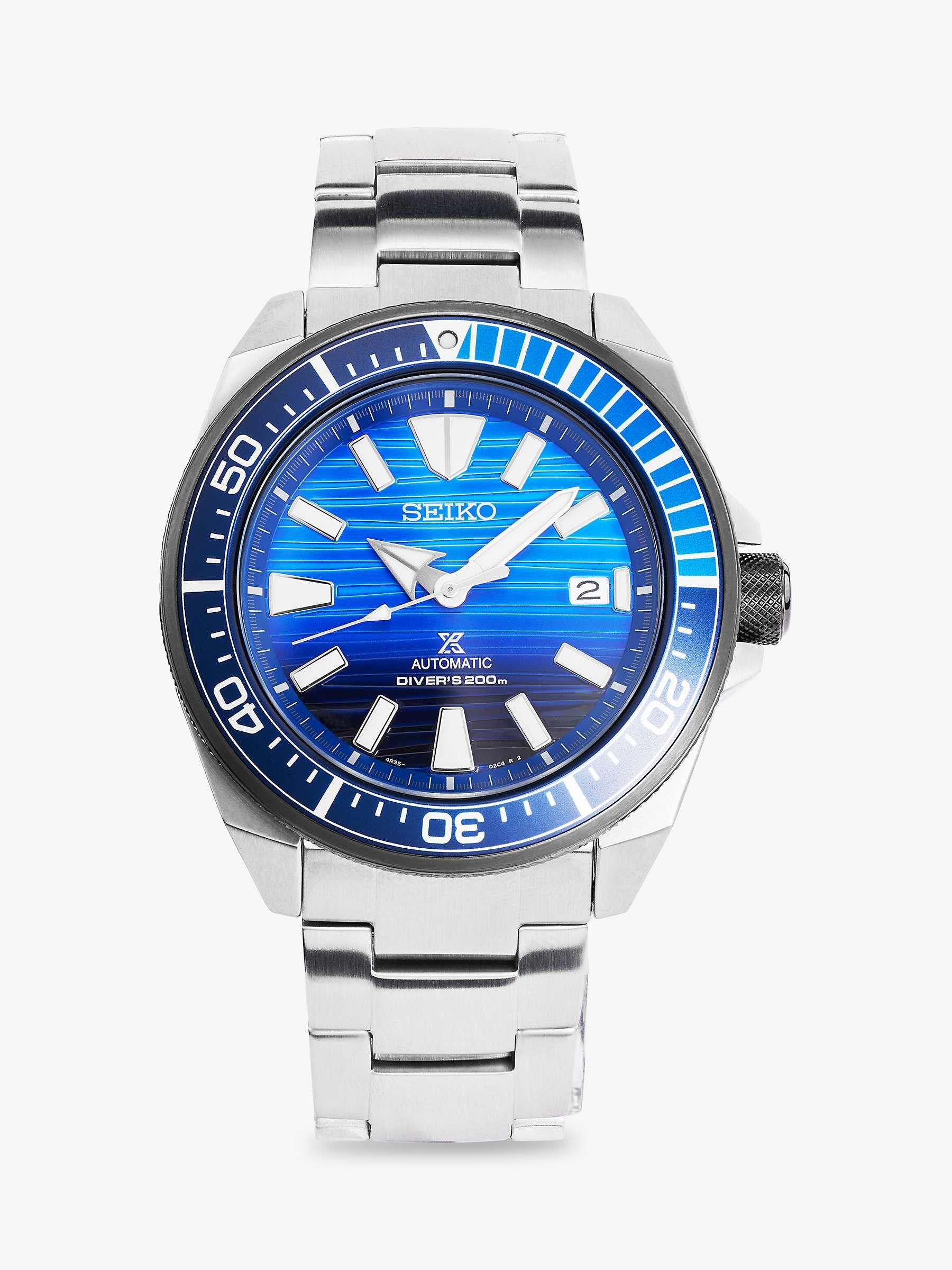 Seiko Samurai SRPC93K1 Men's Prospex Date Automatic Bracelet Strap Watch, Silver/Blue - £274 delivered using code @ John Lewis & Partners