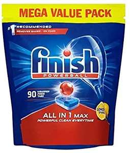 Finish POWERBALL. All in 1 Max Dishwasher Tablets Lemon Scent, 90 Tablets £9.99 + £4.49 delivery Non Prime @ Amazon