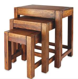 Wooden Nest of Tables ( Solid Wood ) £39.99 instore @ Aldi