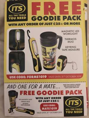 Free goodie pack when you spend £25+ at ITS