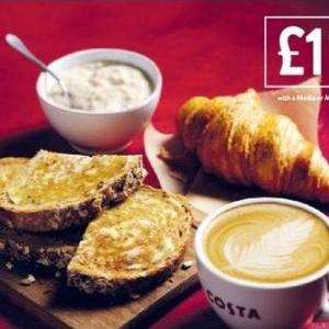 Costa Breakfast Offers - Buy a Coffee and get a Croissant/Toast/Porridge for a £1, Bacon Roll or Egg Muffin for £2