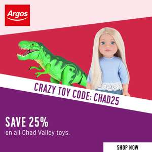 Get 25% off all ALL Chad Valley toys using @ Argos + 2 for £15 offer stacks  = £11.25