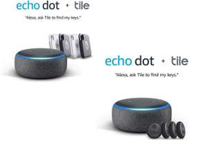 Amazon Echo Dot (3rd Gen) + Tile Sticker (2020) - 4 Pack £54.99 or with Tile Pro (2020) - 4 Pack £89.99 @ Amazon