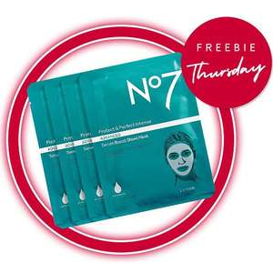 Free No7 Sheet Mask worth £25 when you spend £30 on selected No7 - stacks with more offers @ Boots