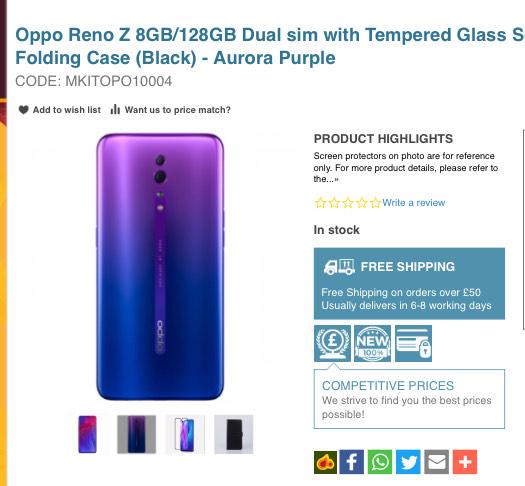 Oppo Reno Z 8gb 128gb purple phone bundle £243.99 eGlobal Central