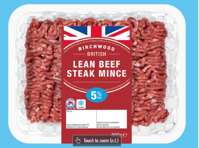 Beef Steak Mince, 5% Fat 1 500g - Lidl - £2.25