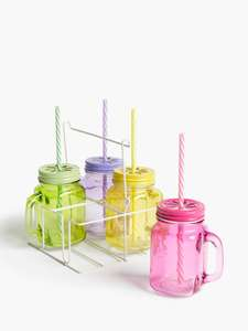 4 Drinking Glass Jars with Holder - £4.50 In-Store only @ John Lewis & Partners - Check Instore Stock