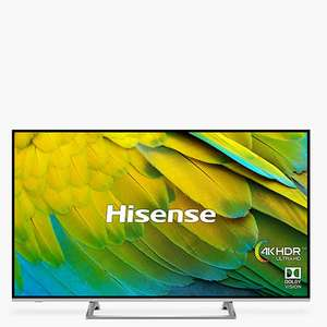 "Hisense H43B7500UK (2019) LED HDR 4K Ultra HD Smart TV, 43"" £329 at John Lewis & Partners"