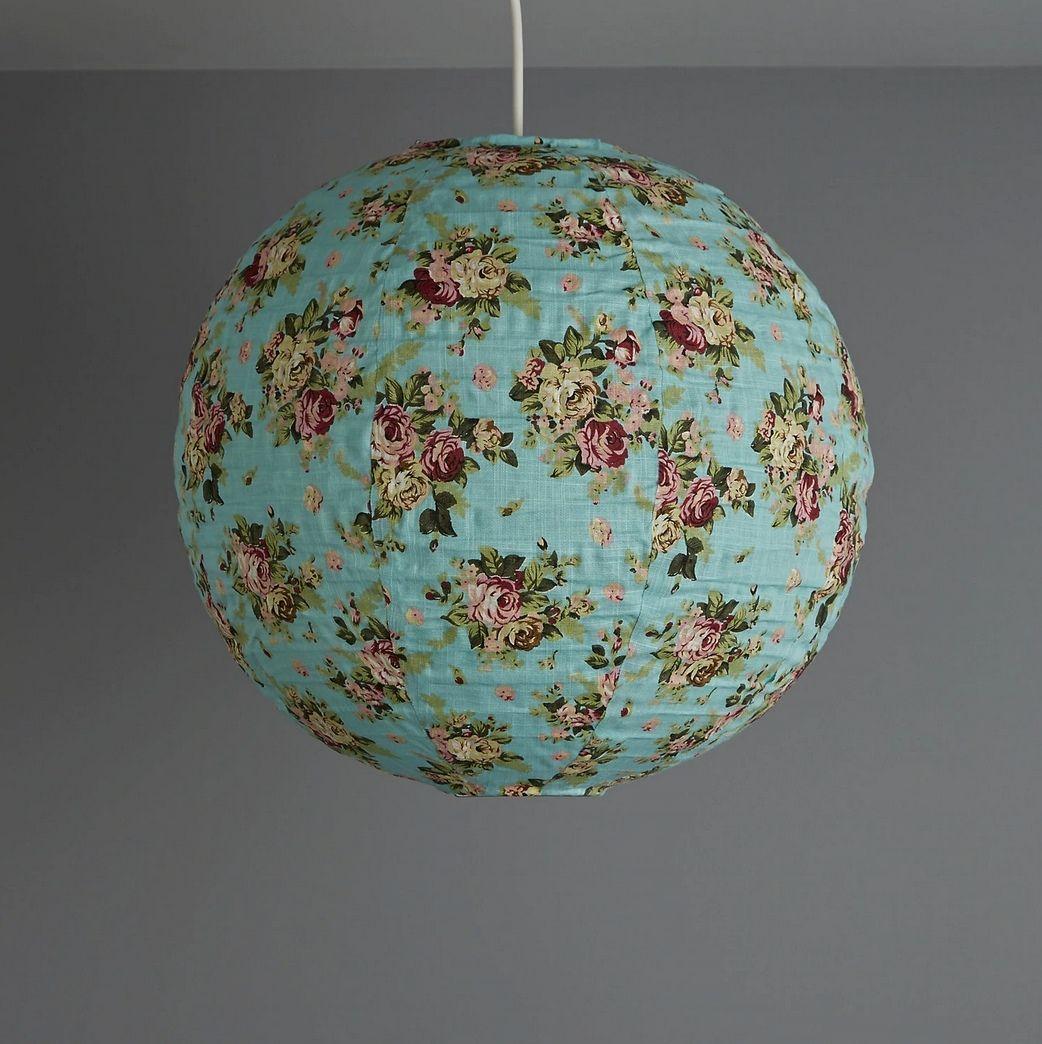 Colours Elodia blue floral fabric light shade 400mm - £2 @ B&Q (Free C&C)