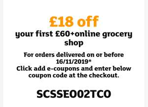 Sainsbury's £18 off your first £60+ online grocery shop