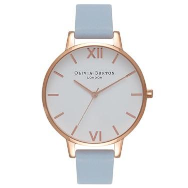 Olivia Burton White Big Dial Chalk Blue & Rose Gold Watch £40 Argento