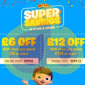 Get £6 off £50 / £12 off a £100 spend @ Smyths Toys - Stacks with other offers + Free delivery (Online & Instore)