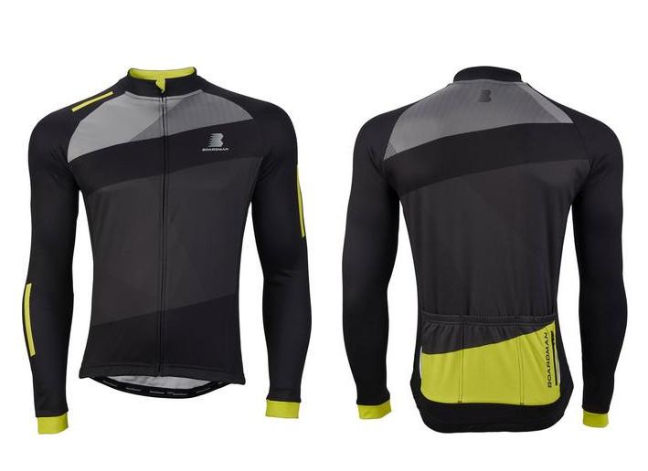Boardman Mens Long Sleeve Thermal Jersey Black/Green - Medium £5 @ Halfords (Free Click + Collect)