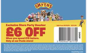 £6 off £15 spend instore at Smyths toys in Poole