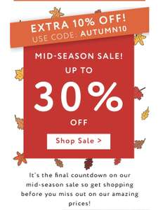 Extra 10% off mid-season sale using code at My 1st Years