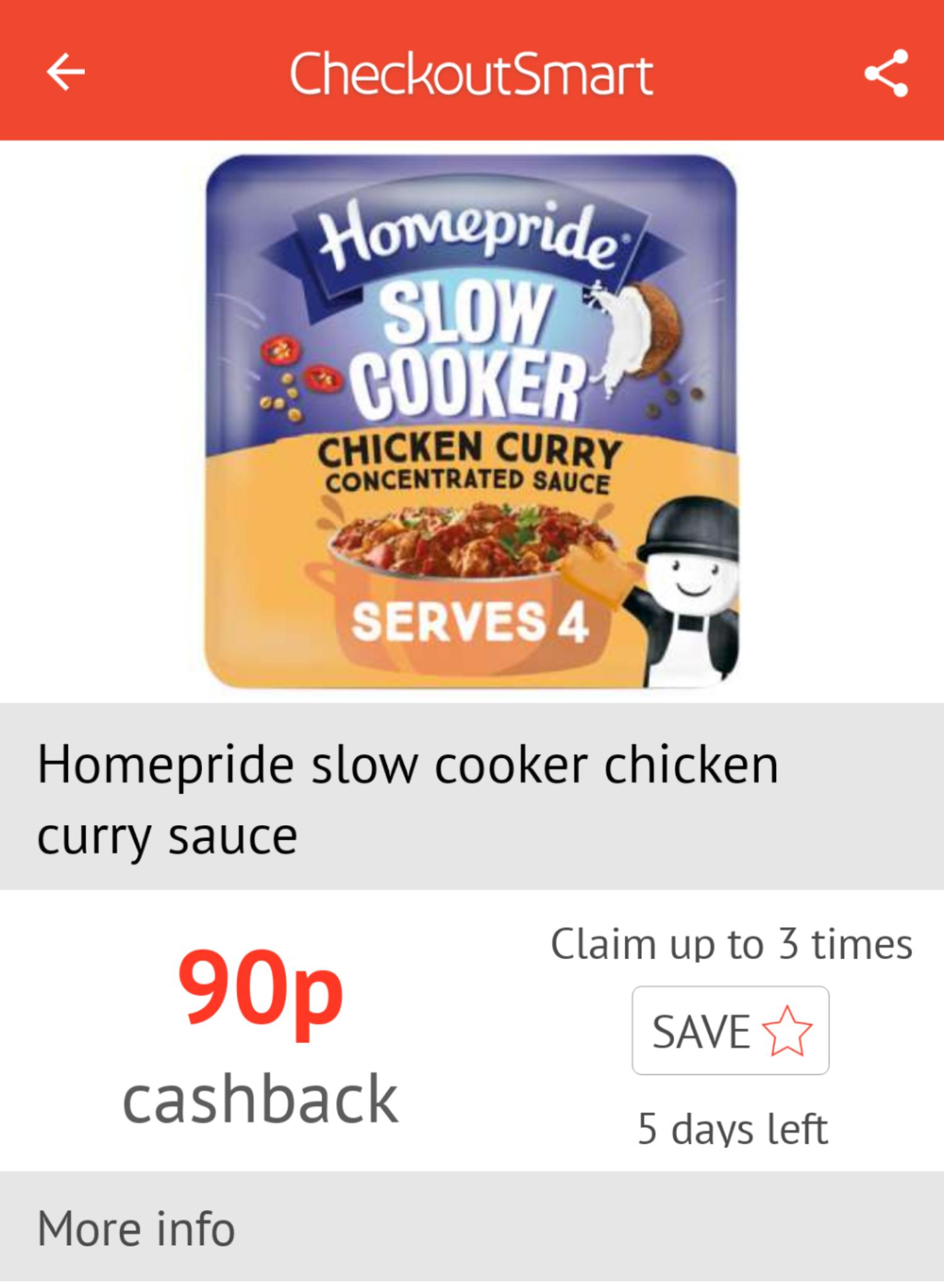 Checkoutsmart: Homepride Slow cooker sauces - £1 (10p each after cashback) via Morrisons