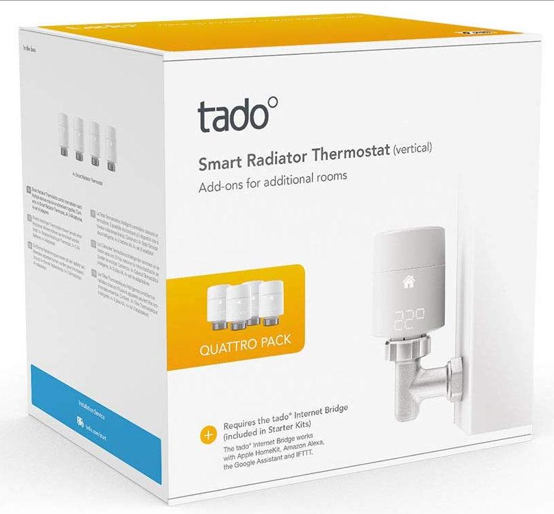 tado° Smart Radiator Thermostat (vertical mounting) - Quattro Pack £169.99 @ Amazon
