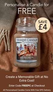 Free personalisation on YANKEE CANDLES and free P&P with code at Yankee Candle Shop