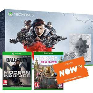 Xbox One X 1TB LE console with COD Modern Warfare / Gears 1-5 / FC: New Dawn & a 2 Months Now TV Pass £369.99 - Game (Trade in from £199)