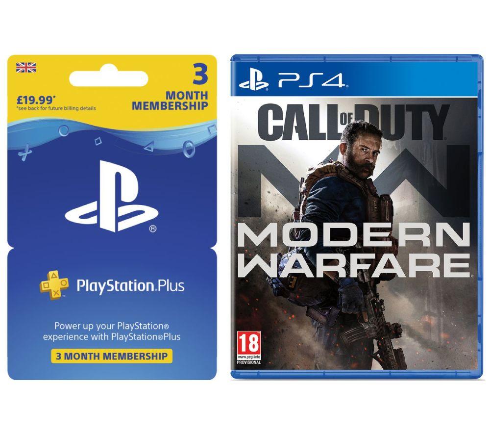 PLAYSTATION 4 Call of Duty: Modern Warfare (2019) & PlayStation Plus 3 Month Subscription Bundle £49.99 @ Currys PC World