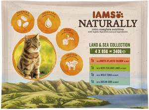 Iams Naturals Land and Sea Collection Adult Cat Food, 4 x 85 g - Pack of 11 £1.99 @ Amazon