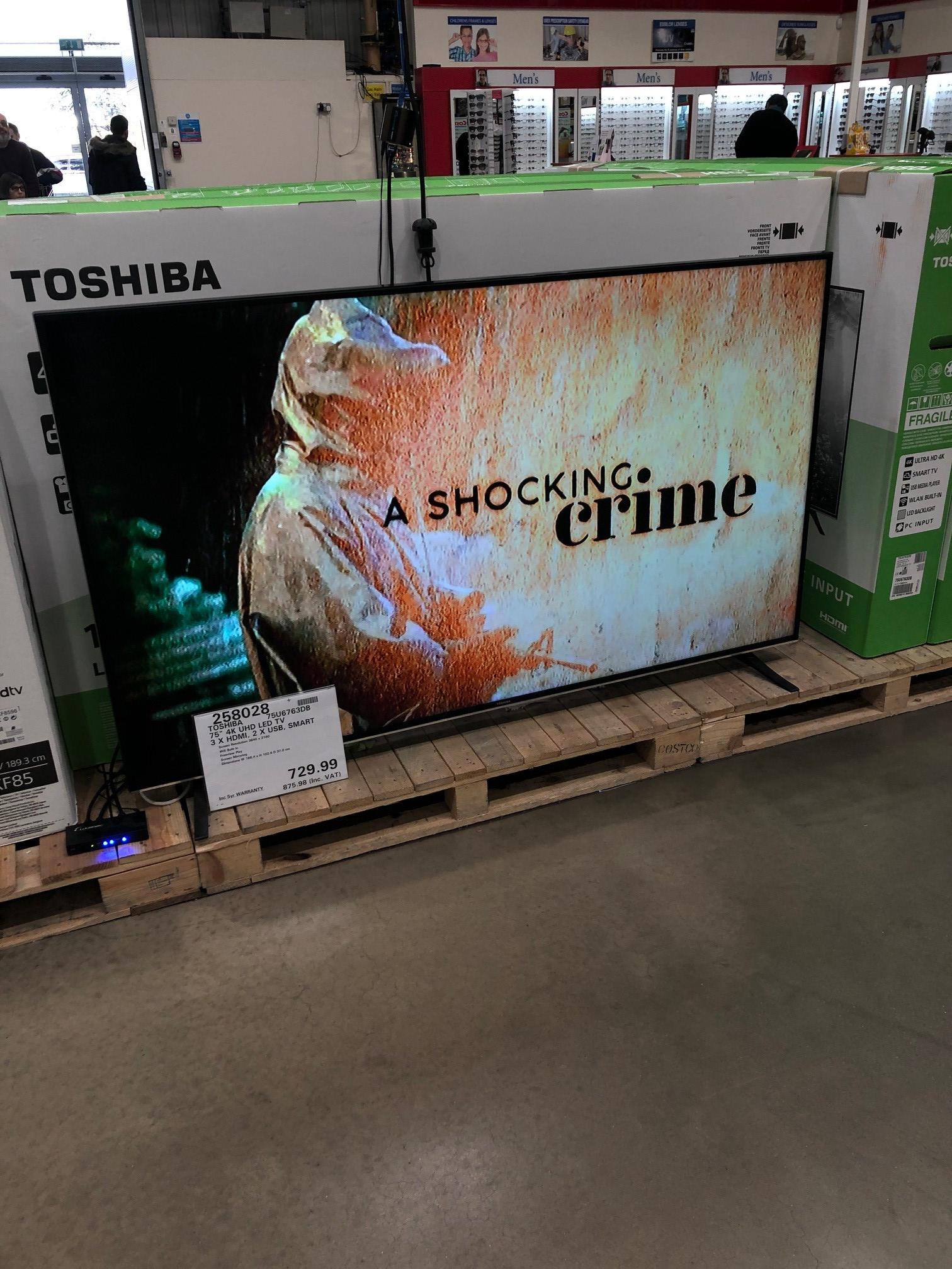 Toshiba 75U6763DB 75 Inch 4K Ultra HD Smart TV - £899.89 @ Costco online and in-store