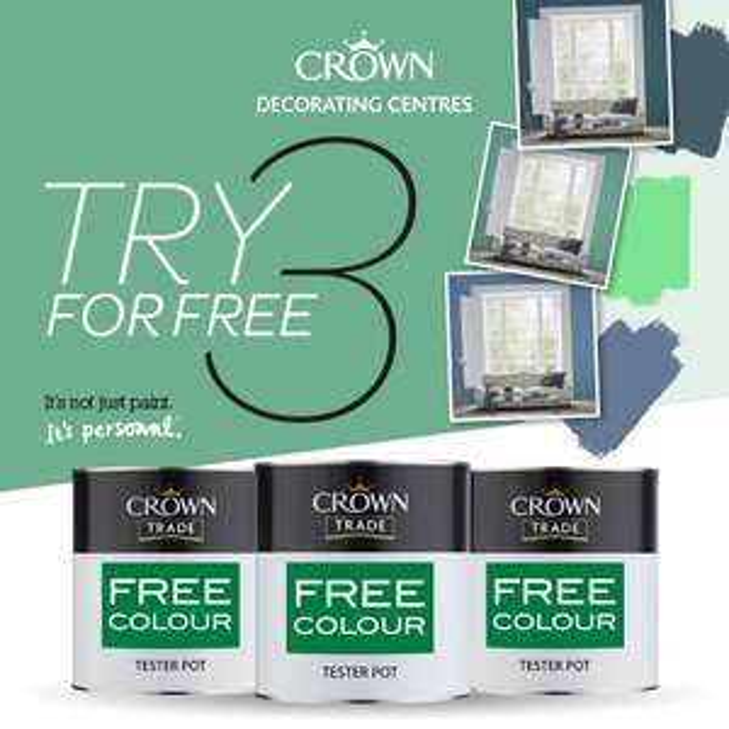 3 FREE Crown Trade Matt Vinyl sample pots (Voucher)