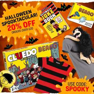 20% off £20 spend with code SPOOKY @ Beano Shop - also stacks with SAVE10 for an extra 10% off + stacks with free delivery still live!