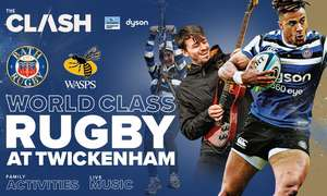Rugby! THE CLASH: Bath Rugby vs Wasps @ Twickenham, Sat 18 April 2020 £24 at Groupon