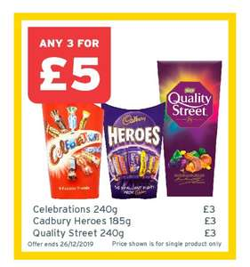 Celebrations, Cadbury Heroes, Quality Street, Terry's Chocolate Orange, Toblerone, Nestle Dairy Box, Bassets Wine Gums 3 For £5 @ One Stop