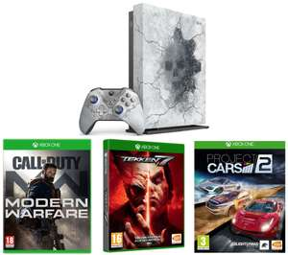 MicrosoftLimited Edition Gears 5 Xbox One X 8 Games, Cod Modern Warfare, Project Cars 2, Tekken 7 & Gears 1-5 - £369 @ Currys PC World