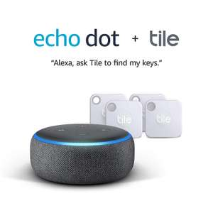 Tile Mate (2020) - 4 Pack + Echo Dot (3rd Gen) - Smart speaker with Alexa - Charcoal Fabric £59.99 @ Amazon