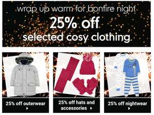 MOTHERCARE - 25% off selected cosy clothing (outerwear, nighter, hats & accessories)