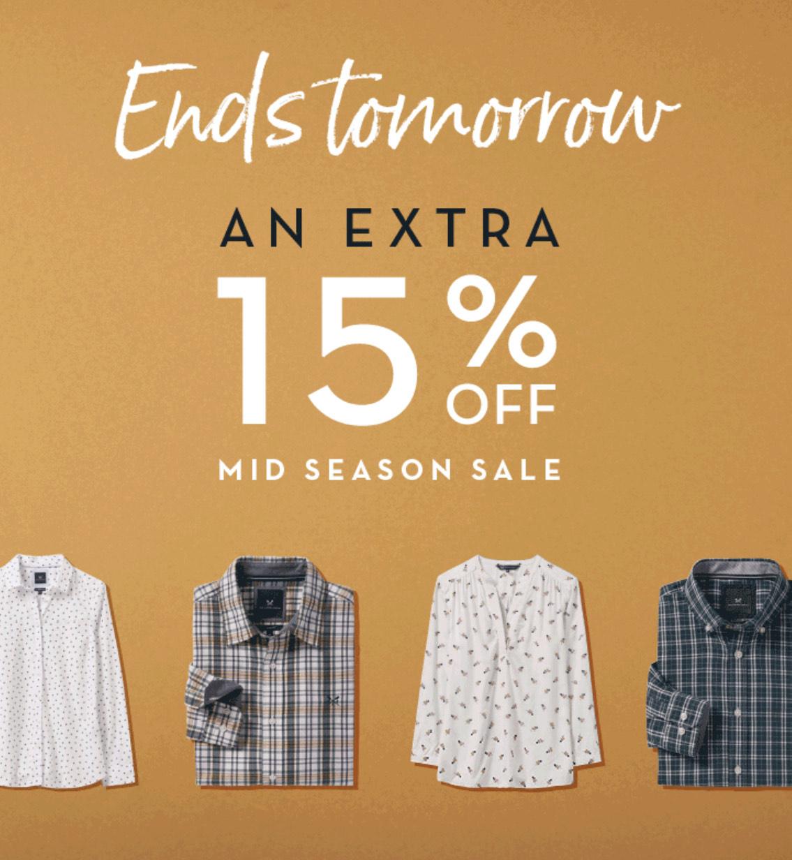 Extra 15% off Crew Clothings Mid Season Sale