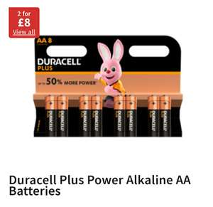 Duracell 2 pack of 8 for £8 @ Asda