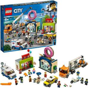 LEGO 60233 City Town Donut Shop Opening Toy Cars Set with Police Motorbike, Truck with Crane Trailer and 10 Minifigures £57.60 at Amazon