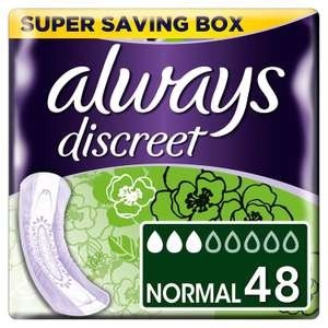 Always Discreet Incontinence Pads for Women, Normal, 48 Moderate Absorbency Pads £2 at Amazon Prime / £6.49 Non Prime