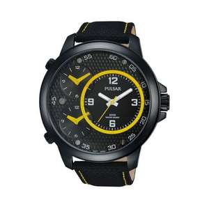 Pulsar Mens Analogue Watch Large 48mm 3 Dial Triple Time 100M Leather Strap - Model PX8005X1 £54.99 @  7dayshop