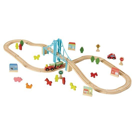 Wooden train set £10 instore & Online @ Tesco