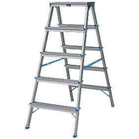 Aluminium 9-Treads Double-Sided Stepladder 1.08M £28.99 @ Screwfix