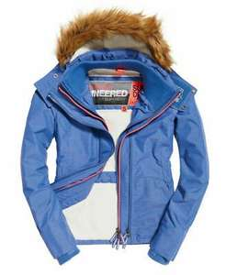 New Womens Superdry Hooded Fur Sherpa SD-Wind Attacker Jacket Light Blue Marl - £26.99 @ eBay / Superdry