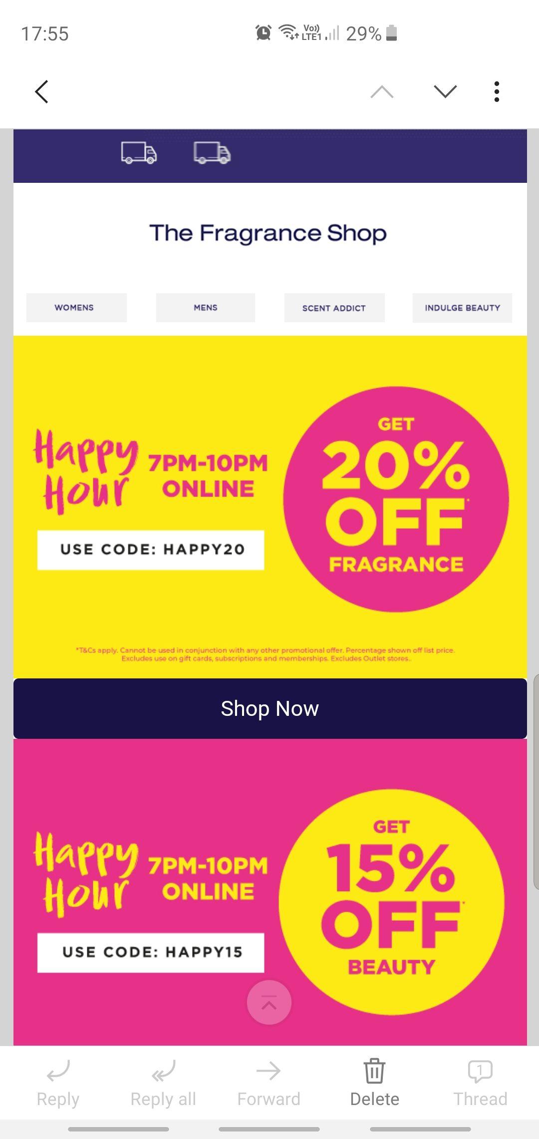 Fragrance Shop - 20% Off Fragrances / 15% Off Beauty - Until 10pm