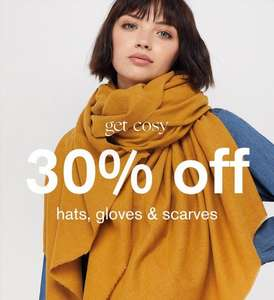30% off all hats, gloves, and scarves at Accessories @ Accessorize