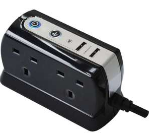 Masterplug 4 Way Compact Surge Protected Power Extension Sockets PLUS 2 USB 2.1A Ports - £14.99 delivered @ 7dayshop