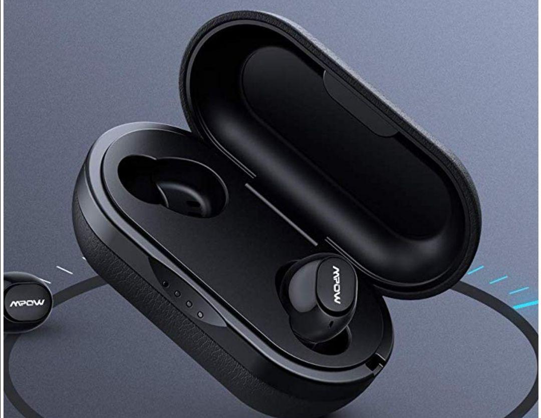 Mpow T5/M5 Earphones - Qualcomm 3020 Aptx - Bluetooth Earphones, Wireless Earbuds with Charging Case £26.99 @ SJH EU Ltd FBA