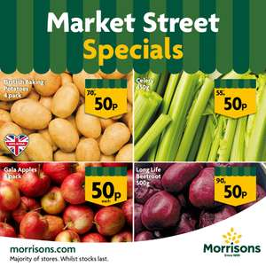 4-pack of Gala Apples ,  Baking Potatoes, Celery,  long-life Beetroot 50p @ Morrisons