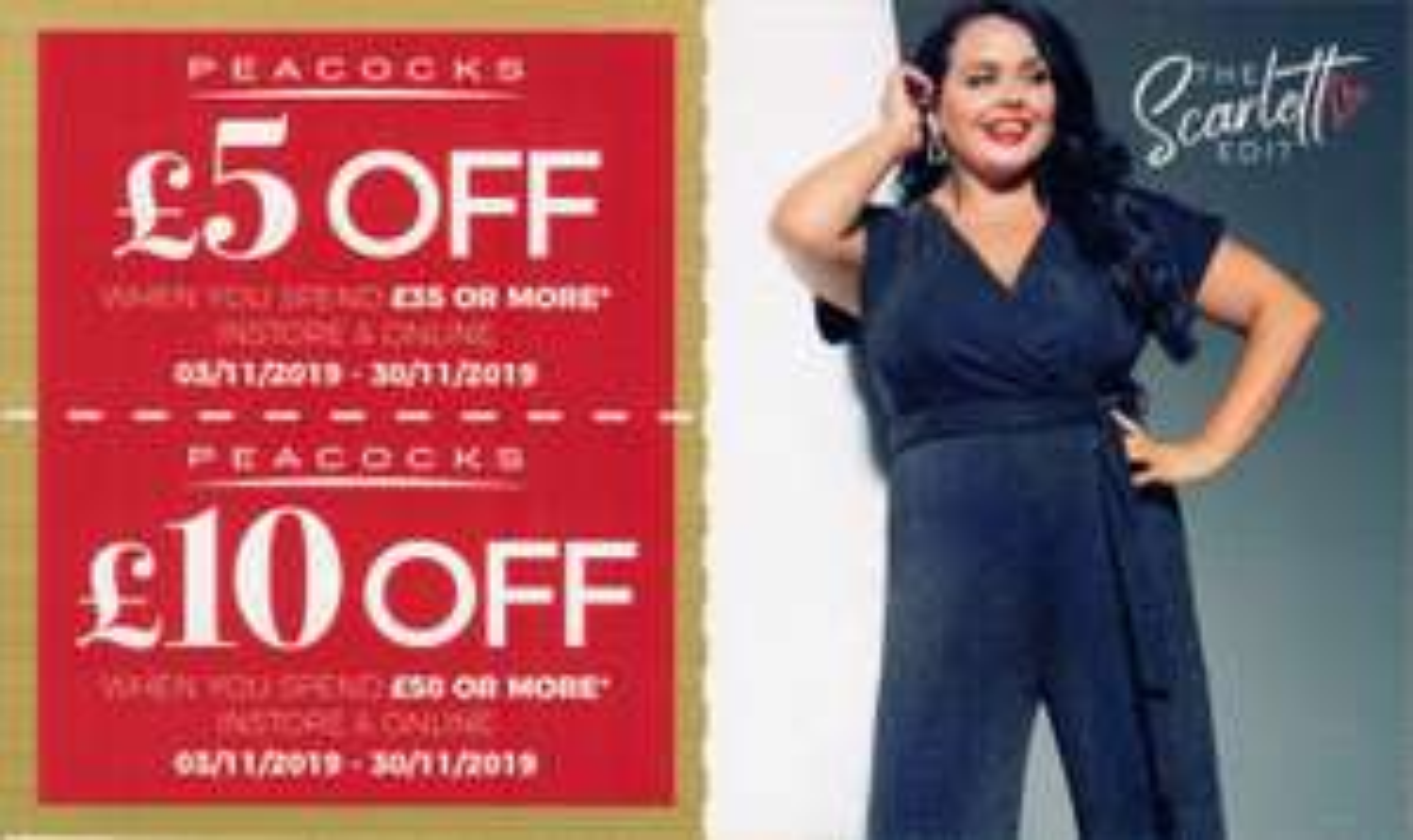 Voucher codes for £5 off £35 / £10 off £50 @ Peacocks online until 30th Nov)