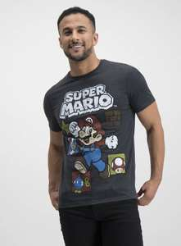 Super Mario Charcoal Grey T-Shirt - £7.50 @ Argos (Free Collection)