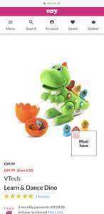 VTech Learn & Dance Dino *Perfect Xmas Gift!* - £29.99 @ Very (Free Collection)